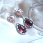 cercei perle roz si cristale 1